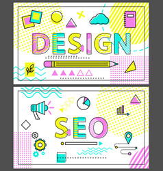 design and seo banners with linear figures set vector image