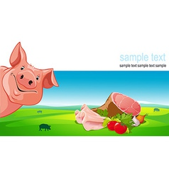 Design with pig ham pork vegetable and farmland vector