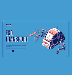 eco transport isometric landing friendly energy vector image