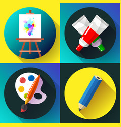 Fine arts icon set in black vector