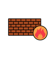 firewall flat icon sign symbol vector image