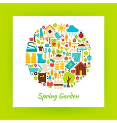 Flat Circle Spring Garden Objects over white Paper vector image