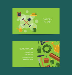 Flat gardening icons business card vector