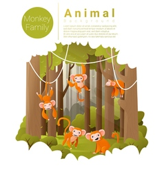 Forest landscape background with monkeys vector