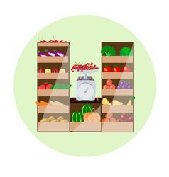 fruit vegetable shop vector image