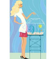 Girl feeds small fishes vector