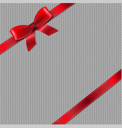Grey knitted background with red ribbon vector