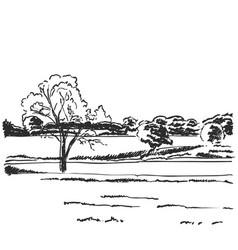 Hand drawn doodle landscape fields sketch vector