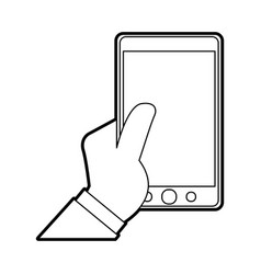 hand holding modern cellphone with blank screen vector image