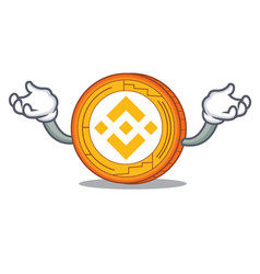 Hand up binance coin character catoon vector