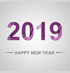 happy new year 2019 with paper cut shapes vector image