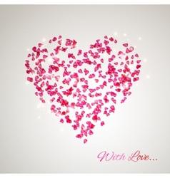 Heart from gentle rose petals vector