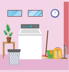 House cleaning laundry room vector