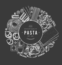 Italian pasta design template hand drawn food on vector