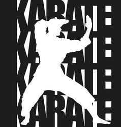 karate text and silhouette vector image