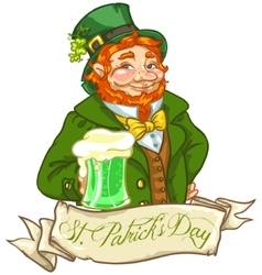 Leprechaun Irish man with beer vector image