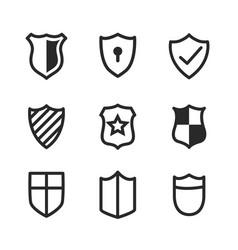 medieval shield symbols or icons set nine vector image