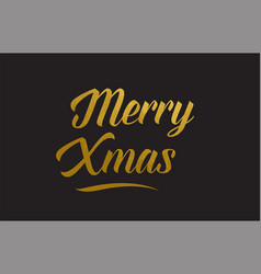 Merry xmas gold word text typography vector