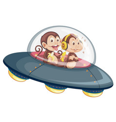 monkey on the ufo vector image