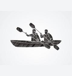 People kayaking designed using grunge brush graphi vector