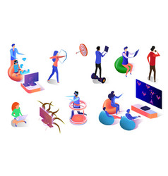 people playing video games using gadgets isometric vector image