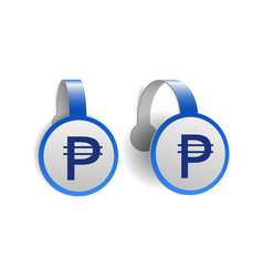 philippine peso symbol on blue advertising vector image