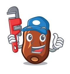 Plumber dates fruit mascot cartoon vector