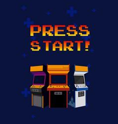 Press start arcades vector