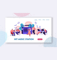 radio station show playing music landing page vector image