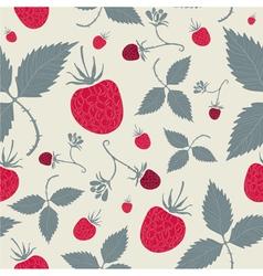 Raspberries seamless pattern vector image