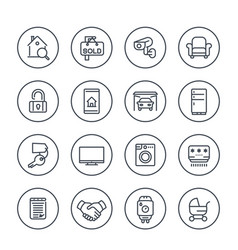 Real estate apartments for rent sale line icons vector