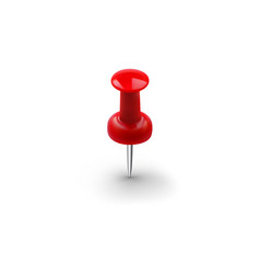 realistic red push pin isolated on white vector image