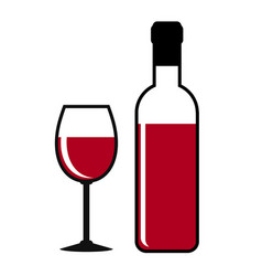 Red wine bottle and glass on white stock vector