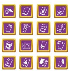 Repair phones fix icons set purple square vector