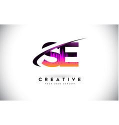 Se s e grunge letter logo with purple vibrant vector