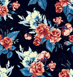 Seamless floral pattern with red roses on blue vector image