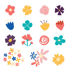 set flowers and floral elements isolated on vector image