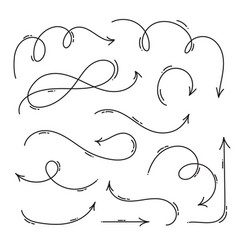 Set hand drawn monoline arrow art vector