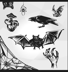 Set of halloween element haloween party sign vector