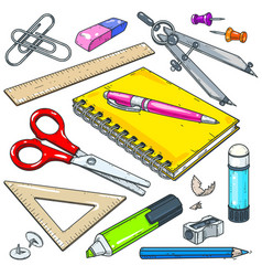 stationery for school and student notebook vector image