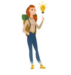 Traveler pointing at bright idea light bulb vector