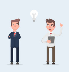 two businessmen working together great idea in vector image