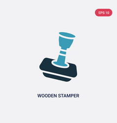 Two color wooden stamper icon from other concept vector