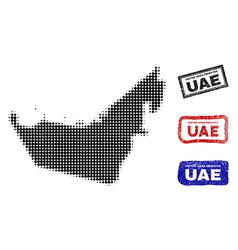 united arab emirates map in halftone dot style vector image