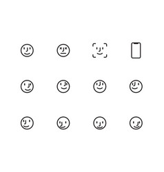 user face line icons on white background vector image