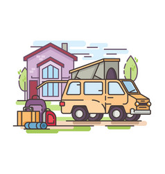 van car for recreation or transfer vector image