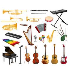 Variety musical instruments set vector