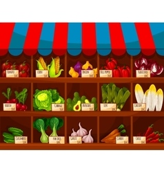 Vegetable shop showcase stand with vegetables vector