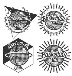 Vintage basketball emblems vector image