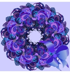 Violet wreath with painted peacock feathers vector image